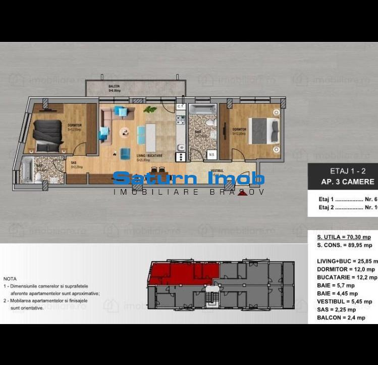 Apartament 3 camere nou Tepes Voda