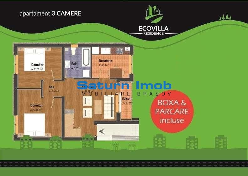 Vanzare apartament 3 camere semidecomandat zona Sanpetru