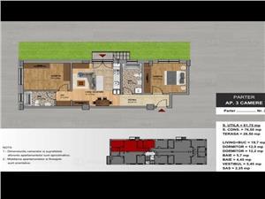Apartament 3 camere curte 28mp Tepes Voda