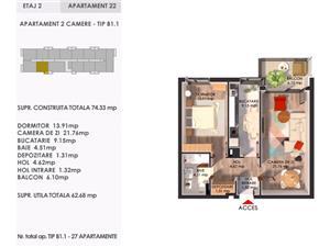Apartament nou 2 camere PorchePipera